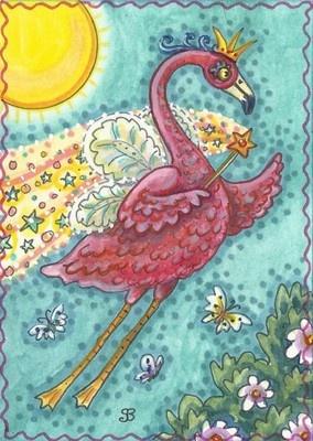 PINK FLAMINGO FAIRY GODMOTHER Wand Big Bird Original Art ACEO Susan Brack EBSQ | eBay