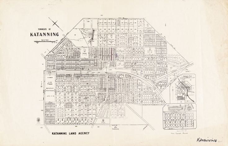 KATANNING (1947)  Cadastral map showing land use and zoning. Includes locality plan and enlargement of area outside townsite boundary. Part of collection: Townsite maps, Western Australia. https://encore.slwa.wa.gov.au/iii/encore/record/C__Rb1902246