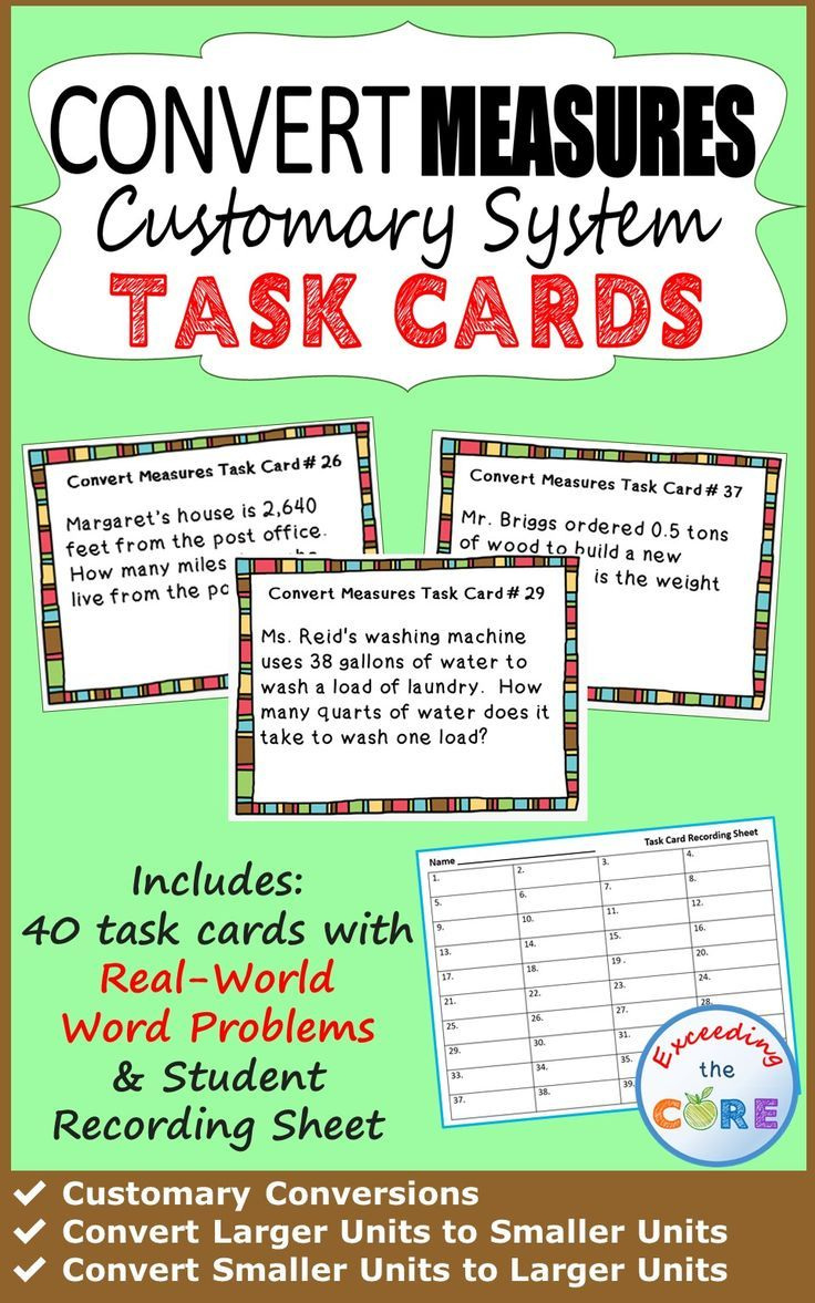 Convert Customary Units Of Measures Word Problems Task Cards Use These 40 With Your Measurement Activities And Ideas For K 4th Grade