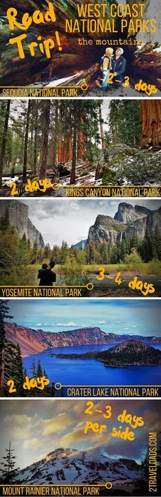 An ideal plan for a West Coast National Park road trip, visiting the various mountain National Parks including Yosemite, Sequoia/Kings Canyon, Mt Rainier... http://2traveldads.com