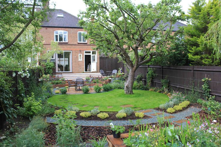 Traditional garden design with a twist and a mature apple for Big garden design ideas