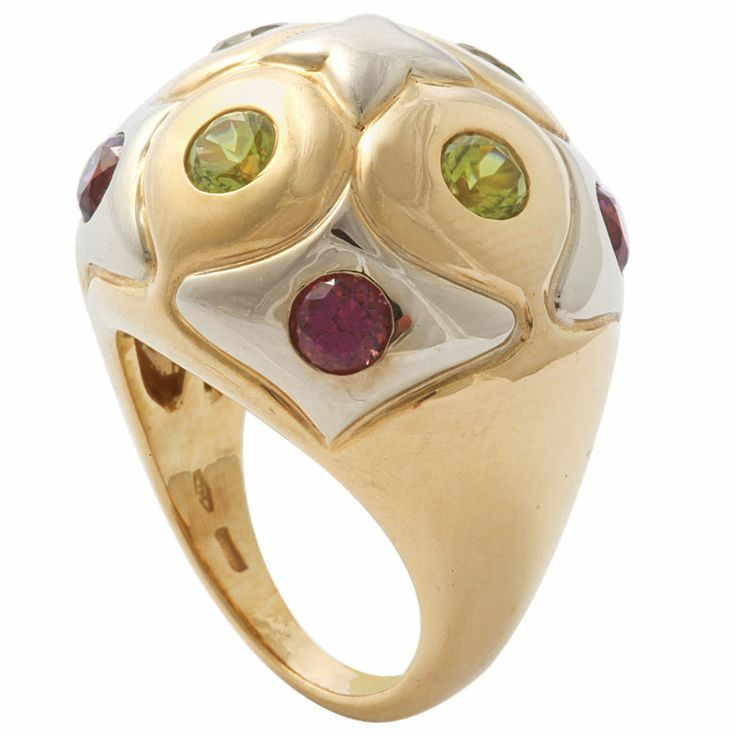 bulgari gold ring with pink and green tourmaline