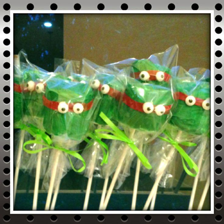 Ninja Turtle Marshmallow Pops!   willow   Pinterest ...