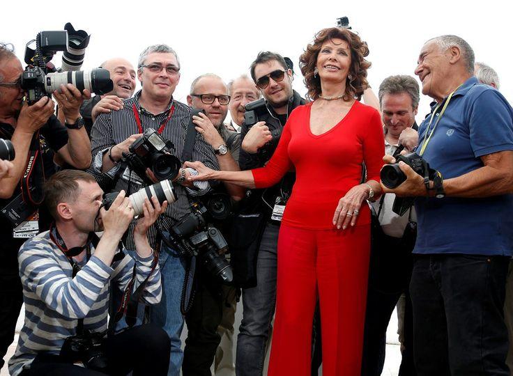 Sofia Loren op het filmfestival van Cannes 2014.