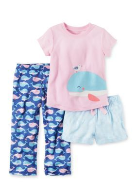 Carters Pink 3-Piece Whale Shirt Short and Pant Pajama Set