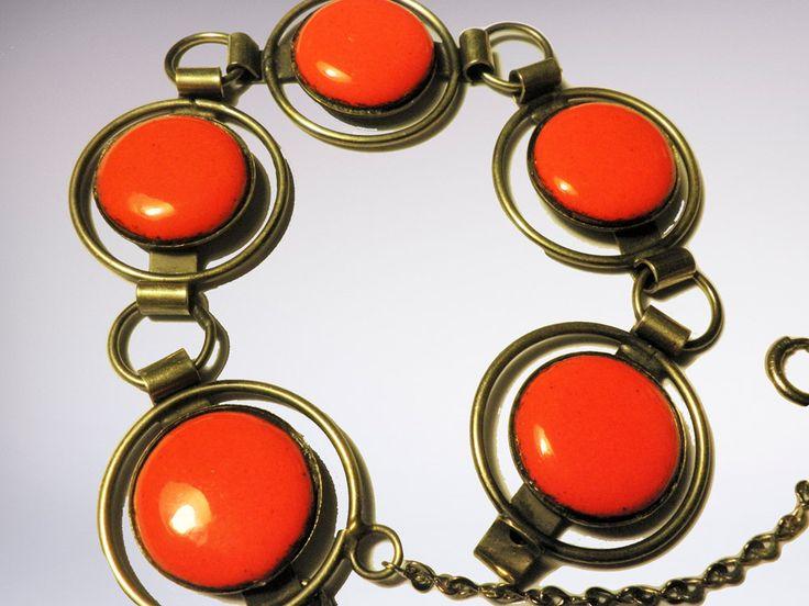 Vintage Armband met Ronde Schakels en Oranje Emaille 1970 door TresbeLLL op Etsy