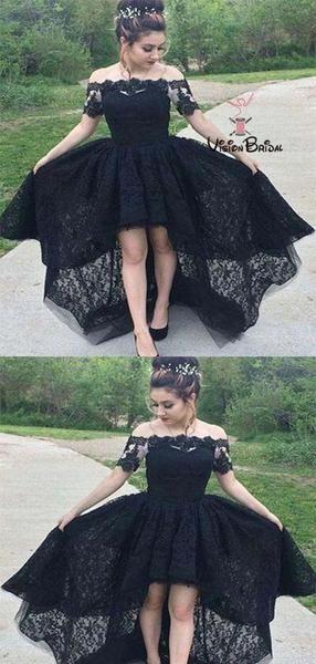 913cfaab493 Elegant Black Off Shoulder Short Sleeves Lace High-low Prom Dresses ...