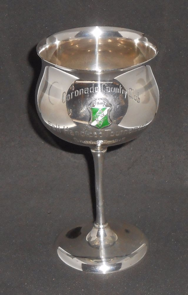 Sterling Silver Goblet Antique Coronado Country Club California Golf Trophy 1915 #BarbourSilverCo #BarbourSilverCo