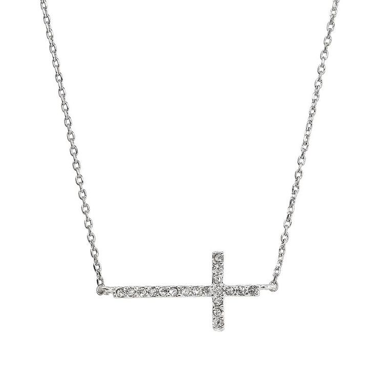 Simulated Crystal Sideways Cross Necklace, Women's, multicolor
