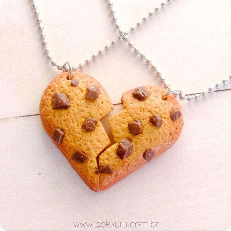 colar de amizade cookie coração, colar best friends, bff, friendship necklace