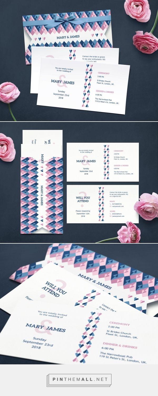 Modern geometric wedding invitation suite. Geometric hearts pattern invitation.  Pink and blue wedding invitation #weddinginvitation #invitationsuite #geometricweddinginvitation #decorativeweddinginvitation #creativeweddinginvitation #colorfulweddinginvitation