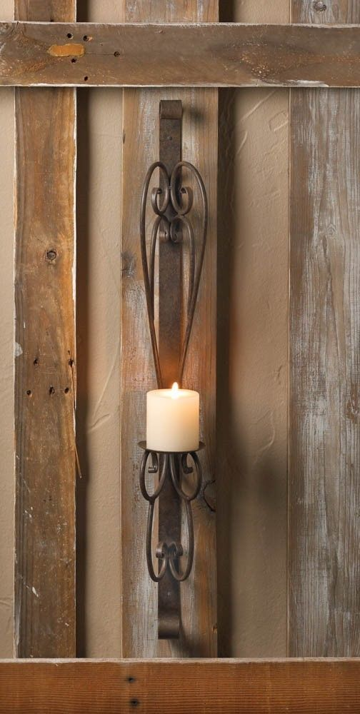 RUSTIC IRON SIMPLICITY PILLAR CANDLE WALL SCONCE 30 TALL DECOR NEW10015977