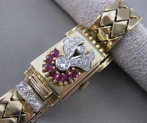 "Antique 1 43ctw Diamond Ruby 14K W Y Gold Phillipe Hidden Watch 6 5"" 18mm 21335 | eBay"