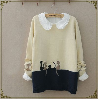 """Cute cat students sweater pullover Cute Kawaii Harajuku Fashion Clothing & Accessories Website. Sponsorship Review & Affiliate Program opening!so fashionable and sweet, use this coupon code """"Fanniehuang"""" to get all 10% off"""