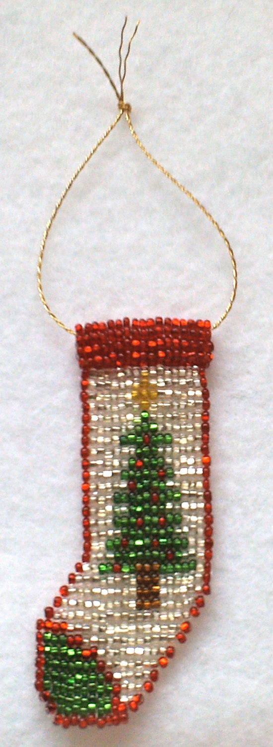 Hand beaded Christmas Tree Stocking Ornament. via Etsy.
