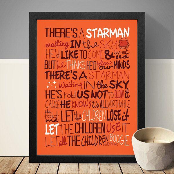 David Bowie Starman Poster Song Lyrics Print Music by LawandMoore
