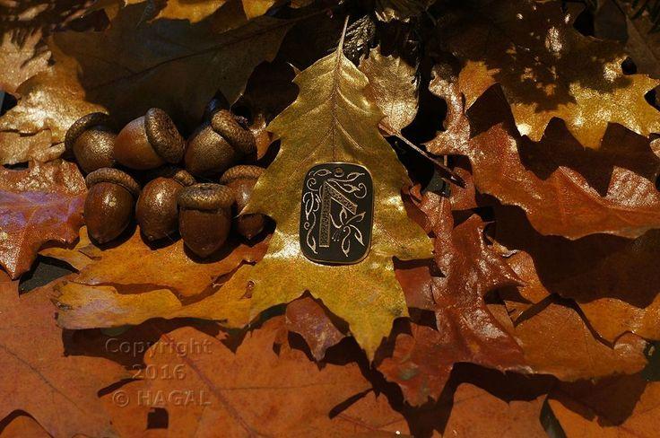 Laguz  Rune Amulet Pendant Handmade Brass Wicca Pagan Viking Druid