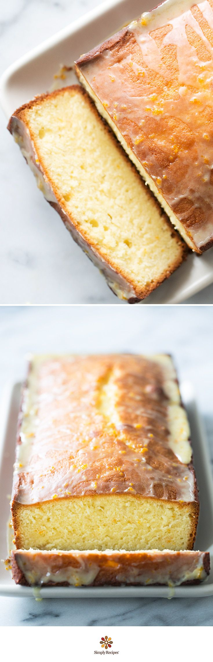 Almond Pound Cake with Orange Glaze. Almonds and orange are awesome together in this gorgeous pound cake! Made with almond paste, flour, Greek yogurt, sugar and orange zest. Even better the next day! ~ On SimplyRecipes.com