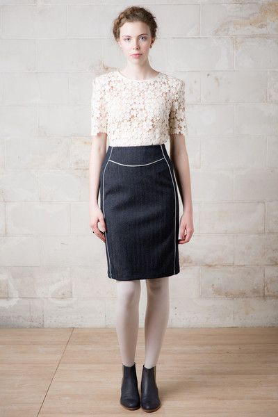 Martha Skirt in wool and cream lace top with peplum.