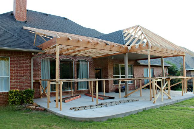 Patio Project Framing And Roof Patio Projects Patio Addition Backyard Porch