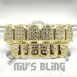 14K-Gold-ICED-OUT-CZ-Teeth-GRILL-Set-Top-Bottom-Tooth-Caps-Hip-Hop-Bling-NEW