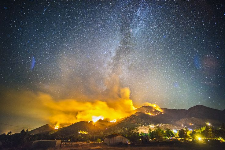 The Way Fire burns on August 19, 2014 in the Sierra National Forest near Kernville, CA overnight.  Long exposure image.