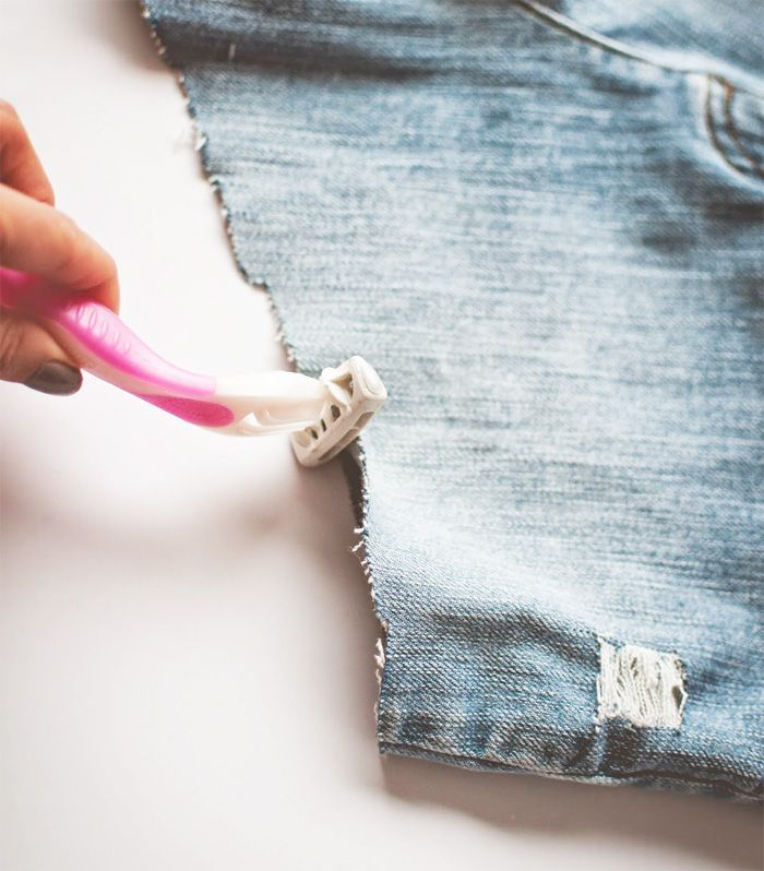 How to make high waisted distressed denim shorts.