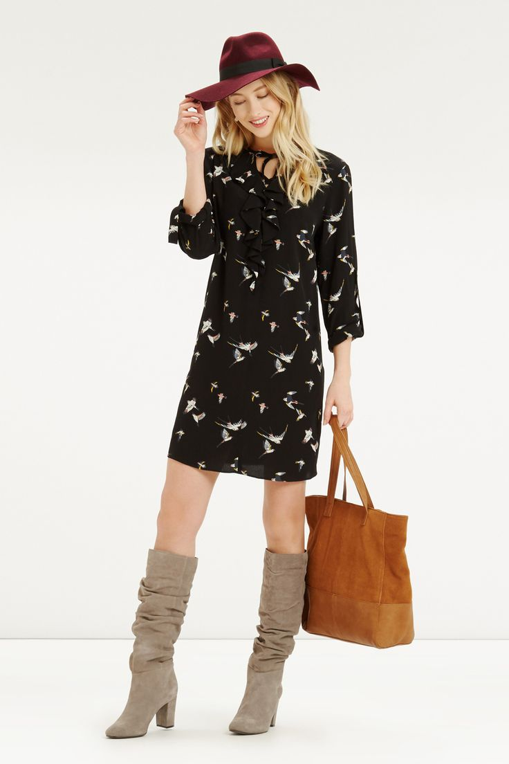 Bird Frill Front Dress. Was £48, NOW £25 - http://www.oasis-stores.com///oasis/fcp-product/5733458