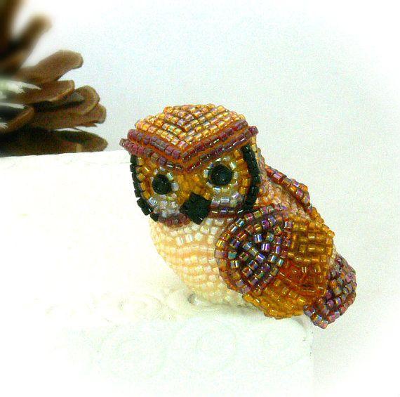 Adorable petite chouette <3  Owl Miniature Figurine Beaded Horned Owl Animal Totem Stocking Stuffer