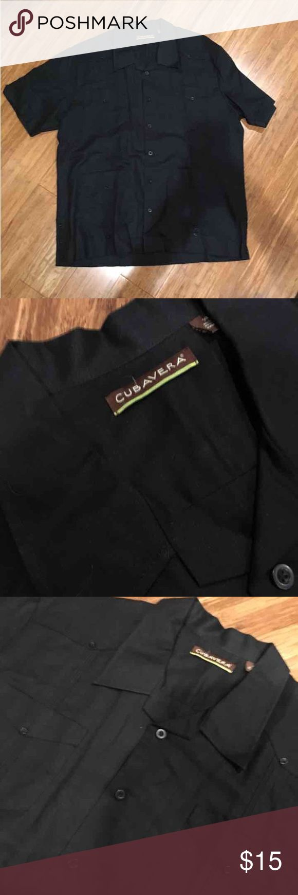 Short sleeve black button down shirt Short sleeve black button down shirt with several pockets. In excellent condition only worn once. Cubavera Shirts Casual Button Down Shirts