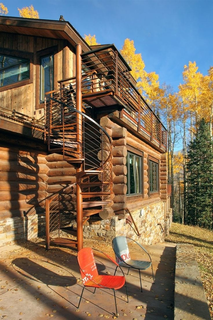 37 best rustic staircases images on pinterest stairs cabin outdoor spiral staircase on a log cabin in telluride love love love log home interiorsdesign
