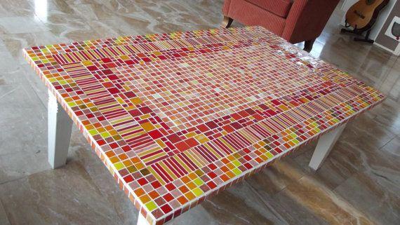 Mozaiek kofietafel salontafel tafel reed mozaïek door ColoreMosaics