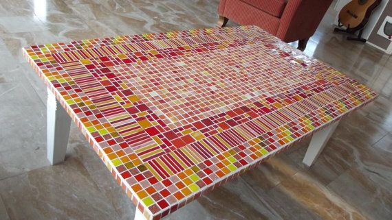 mosaic table coloured table by ColoreMosaics on Etsy, €389.00