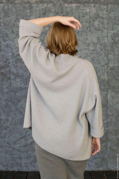 Пиджаки, жакеты ручной работы. Кардиган вязаный серый. LAMA MIA丨Вязание на заказ. Интернет-магазин Ярмарка Мастеров. Однотонный, кардиган