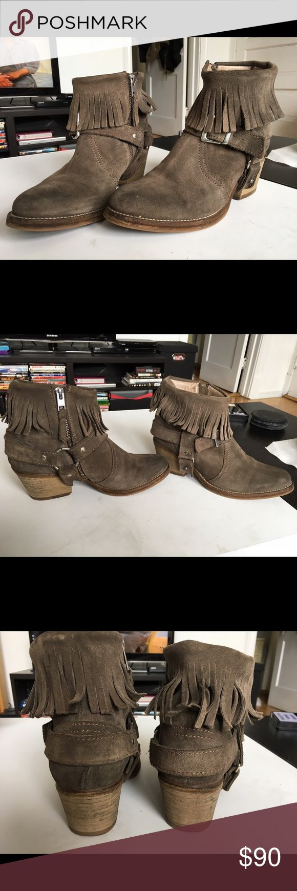 "Allsaints Suede fringe booties taupe sz 40. Allsaints buckle and fringe booties. Used but good condition. Size 40. Measuring the heel from the back of the shoe - 2"". Any questions, just ask! All Saints Shoes Ankle Boots & Booties"