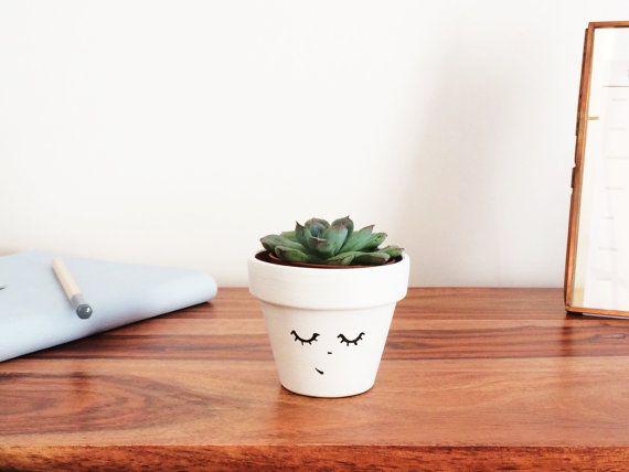 Planter - Succulent Mini Planter - Hygge Decor - Cactus Pot - Minimalist Indoor - Home Decor - Face Plant - Office Decor - Scandinavian