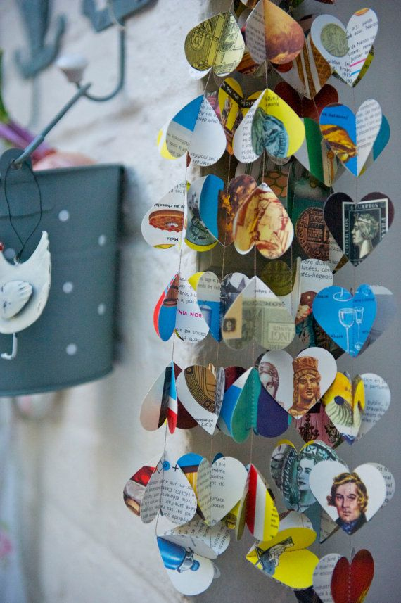 Paper Garland Vintage French Encyclopedia