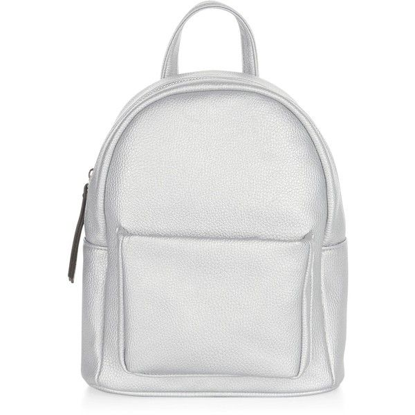 New Look Silver Pocket Front Curved Mini Backpack found on Polyvore featuring bags, backpacks, fillers - simple, silver, rucksack bag, knapsack bag, white handle bags, mini rucksack and silver backpack