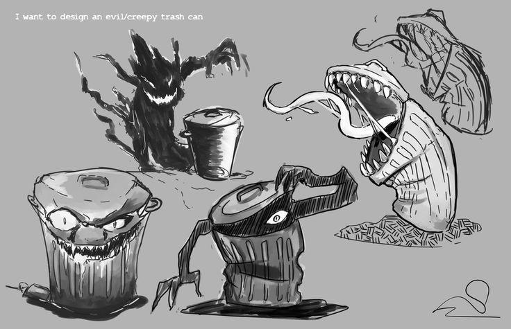 2D - Creepy Trash Can