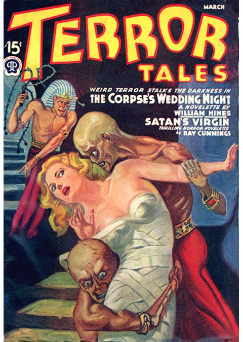 Terror Tales magazine pulp cover art exotic foreign woman girl dame grasp grab mummy Egypt Egyptian zombie zombies whip captive hostage prisoner kidnap danger