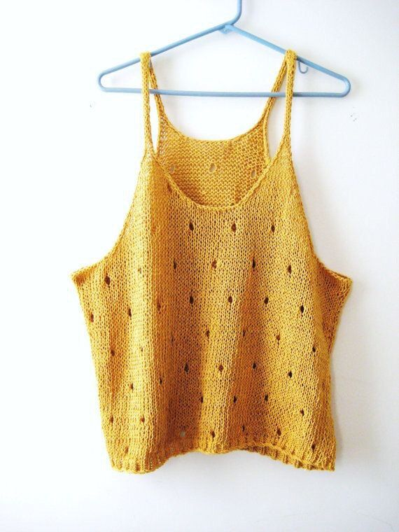 50%OFF mustard Sexy knit top silver crochet halter by KnitSew4U