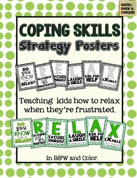 Help you students RELAX during times of frustration with these coping skills posters.  Great for any classroom.  (FREE)