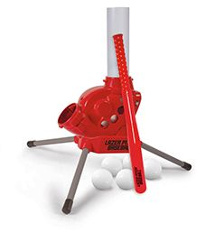"""MaxSport Lazer Pitch Baseball is the only pitching machine to allow your child to control the timing of each pitch. Just press the button on the handle of the bat to activate the pitch. It features adjustable pitching angles from normal fastballs to high-arc lobs, pitches up to 25 ft., & has a red light to confirm when a pitch is coming. The machine has an """"auto"""" mode that will shoot pitches every 8 seconds. (Pitching machine, 26"""" remote control bat, 5 balls.)   Buy: http://amzn.to/1tGGubz"""