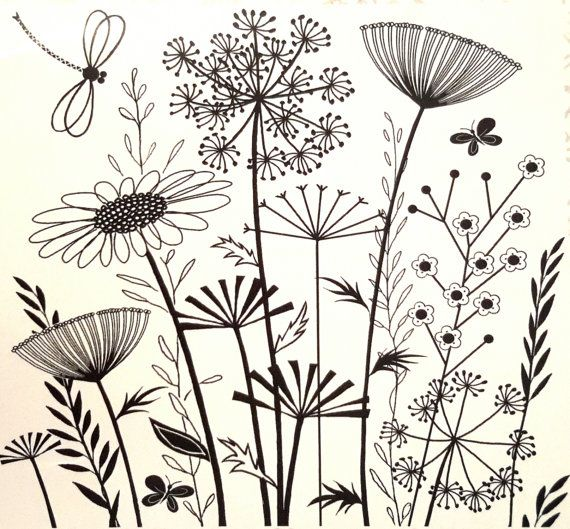 Summer Meadows, unmounted rubber stamp these whimsical wildflowers by Crafty individual