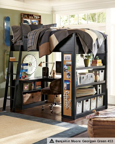 Loft Bed - Love this and it provides so much floor space, a DOUBLE Bed, and organizational units!
