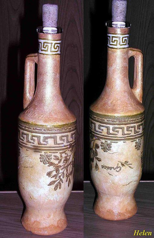 Декупаж. Мои новые работы Бутылка греческая 250 руб.