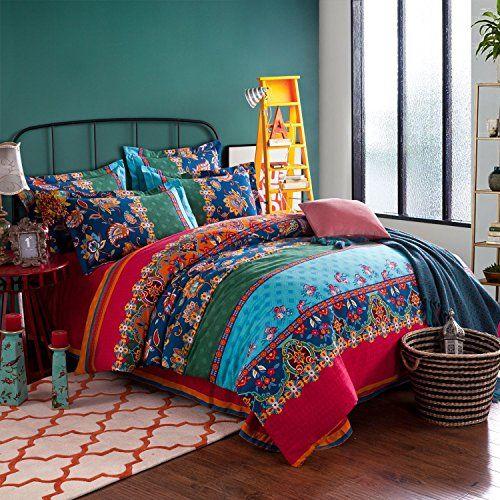 Lelva Boho Style Bedding Set Bohemian Ethnic Style Bedding Set Boho Duvet Cover Set