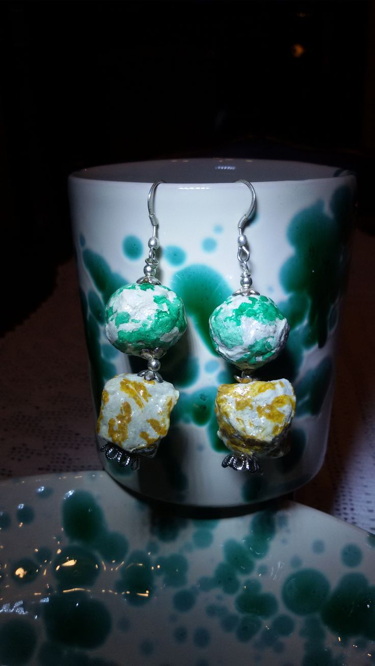 orecchini RECYCLE in cartapesta ed argento - RECYCLE earrings in papier mache and sterling silver