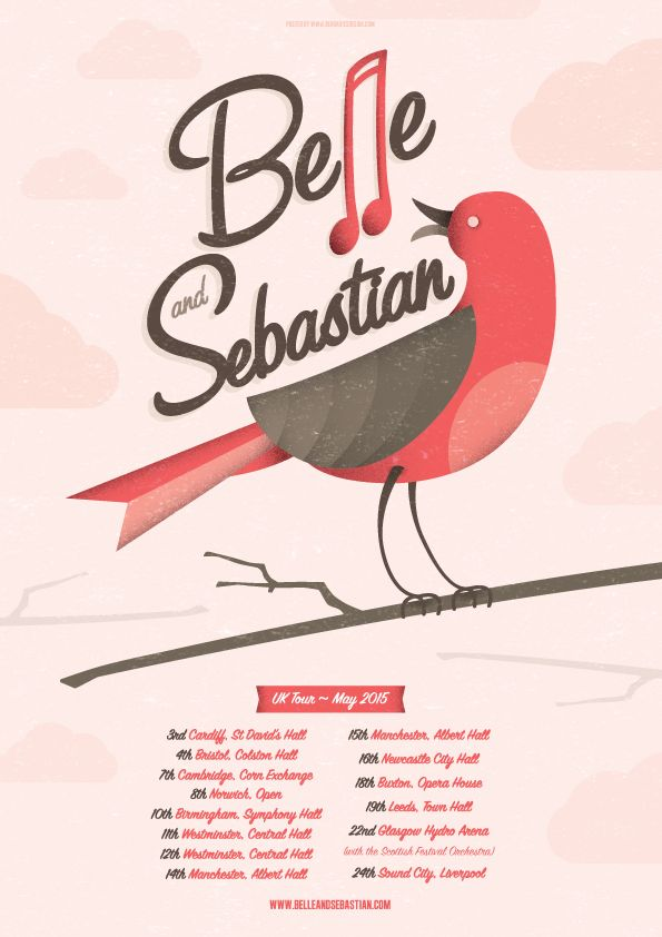 Belle & Sebastian UK Tour Poster http://www.bendaviesdesign.com/portfolio/belle-and-sebastian/