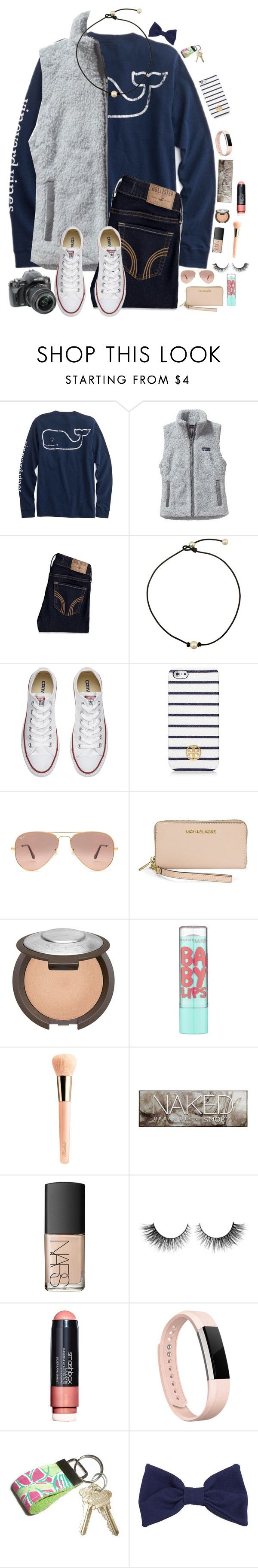 """School Festival 🎀💙 // Day 1"" by maxilicious ❤ liked on Polyvore featuring Patagonia, Hollister Co., Converse, Tory Burch, Ray-Ban, Michael Kors, Maybelline, Guerlain, Urban Decay and NARS Cosmetics"